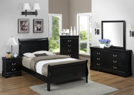 Black Louis Philippe Twin Bed
